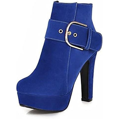 bruto elegante con pequeños cargadores cortos para el otoño/invierno/Cabeza de otro zip hebilla zapatos redondo/ súper tacón plataforma botines