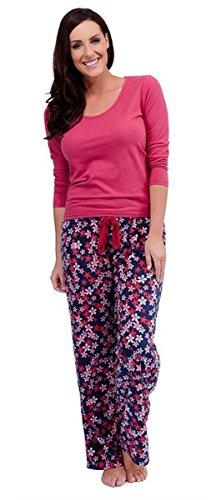 Damen Fleece Winter PJ Pyjama Nachtwäsche PJ's Damen Pyjama-Set Blau - Marineblau / Rot