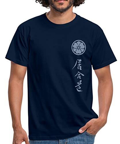 Iaido + Mon Männer T-Shirt, XL, Navy