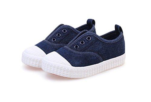 ALUK- Chaussures de bébé - chaussures de toile pour enfants apprendre chaussures paresseuses chaussures décontractées ( Couleur : Bleu foncé , taille : 32 ) Bleu foncé
