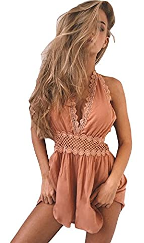 ALAIX Womens Sexy Deep V Neck Jumpsuit Backless Lace Short