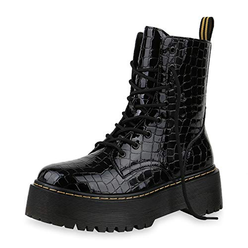 iefeletten Worker Boots Plateau Stiefel Punk Grunge Schuhe 173732 Schwarz Kroko Lack 36 ()