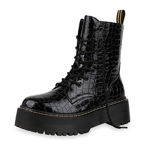 SCARPE VITA Damen Stiefeletten Worker Boots Plateau Stiefel Punk Grunge Schuhe 173732 Schwarz Kroko Lack 40
