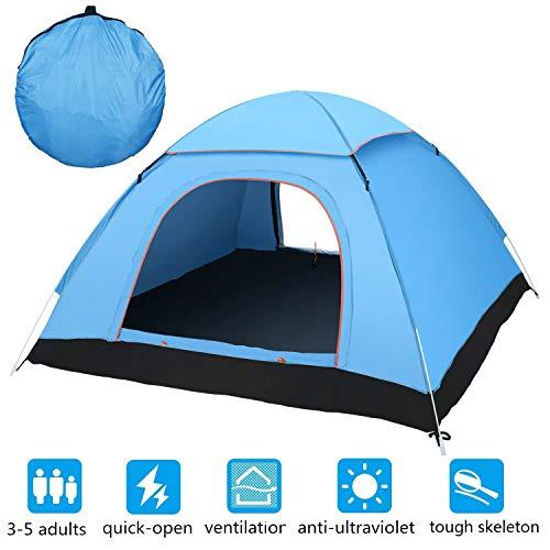 Fitfirst Tienda de Campaña para 3-4 Personas Material Resistente A Prueba de UV/Viento/Lluvia Buena Ventilación, Doble Puerta con Bolsa para Aire Libre , Camping, Playa, Aventura, etc. - Azul