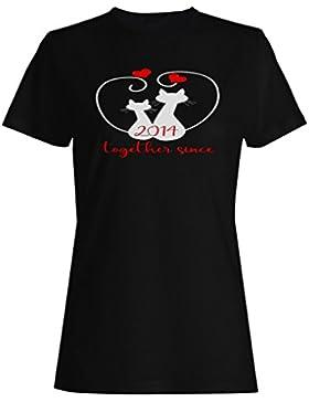 Gatos que amamos juntos desde 2014 camiseta de las mujeres f234f
