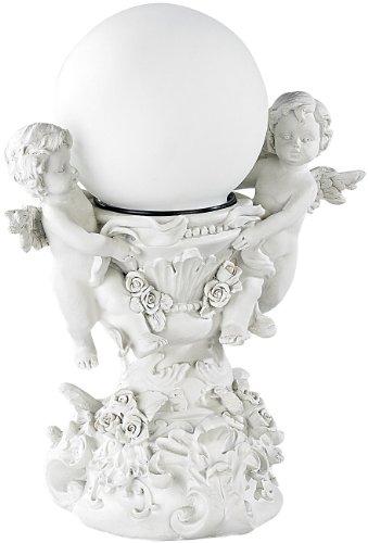 Lunartec Beleuchtete Engel: Deko-Leuchte Engelsbrunnen mit Solar-LED-Kugel (Solar Grablicht)