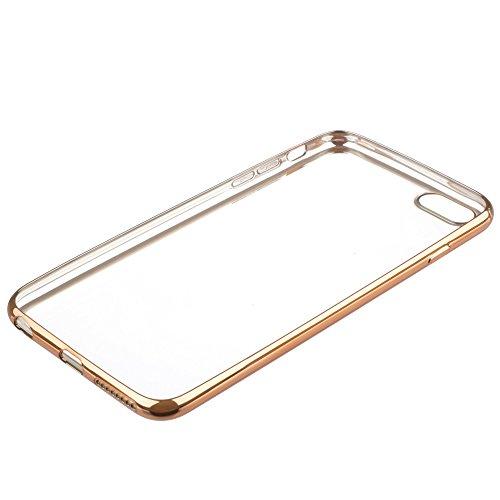 Xcessor Transition Farbe Flexible TPU Case Schutzhülle für Apple iPhone 6 Plus. Mit Gradient Silk Gewinde Textur. Transparent / Hellblau Klar / Goldene Farbe