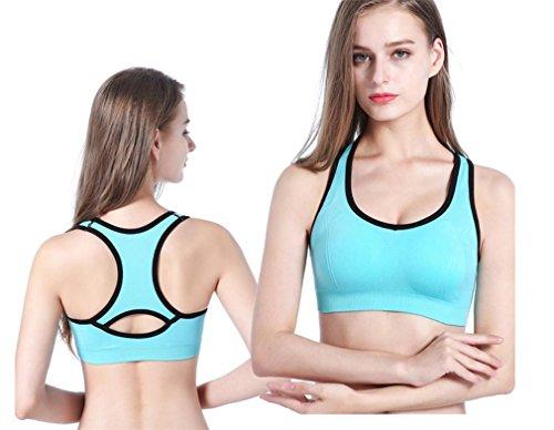 HAPPYMOOD Reggiseno sportivo donna traspirante In esecuzione Allenarsi Reggiseno yoga Crop Top Imbottito Reggiseno sportivo Grande impatto blue