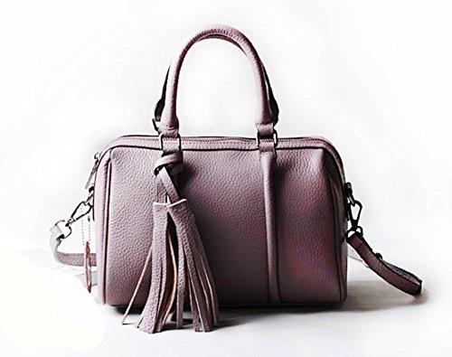 CHAOYANG-a tracolla in pelle borsa borsa borsa diagonale primo strato di borsa di pelle con frange , purple taro purple taro
