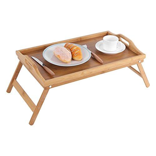 Cocoarm Bambus Bett Tablett Frühstückstablett Serviertablett Betttisch Beistelltisch Knietisch Serviertablett Laptop Schreibtisch mit klappbaren Beinen Griffen Erhöhter Rand 22,5 x 50 x 30 cm