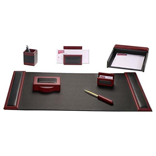 Dacasso Schreibtisch-Set, Rosenholz und, die 7-Piece, Leder, Schwarz (Florida-schreibtisch-kalender)