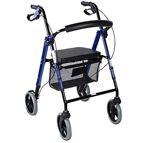 Andador para ancianos de 4 ruedas | Rollator para mayores con regulación de altura total y de asiento | Plegable | Incluye cesta de tela | Frenos y respaldo ergonómicos | Deluxe con diseño innovador | Peso máximos soportado 100 Kg | Modelo Hércules | Mobiclinic