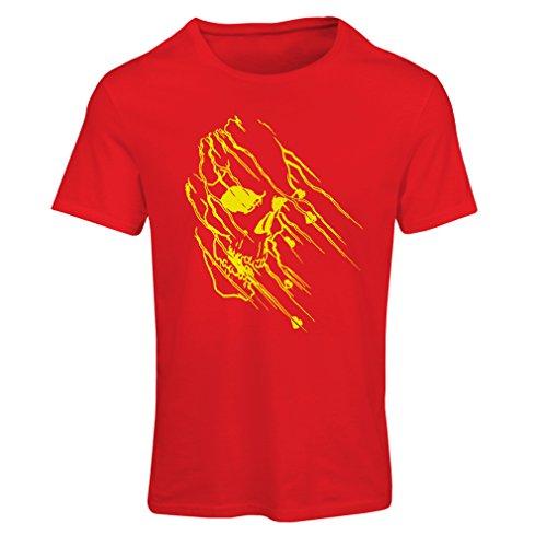 lepni.me Maglietta Donna Art Skull - Vintage t Shirts (Large Rosso Multicolore)