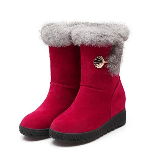 SHANGXIAN Winter Frau Schneestiefel Warmes Plüschfutter Warme Schuhe Mädchen Mode Dicker Boden Stiefel Aus Baumwolle,Red,41