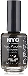 New York Color Long Wearing Nail Enamel, Black Lace Creme, 0.45 Fluid Ounce