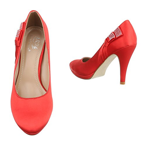 Damen Pumps Schuhe High Heels Stöckelschuhe Stiletto Schwarz Schwarz Beige Rot 36 37 38 39 40 41 Rot