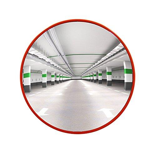 OrangePlas, specchio convesso da 45 cm, per interni ed esterni, riflette immagini grandangolari, adatto per la sicurezza stradale e la sicurezza stradale con staffa di fissaggio regolabile.