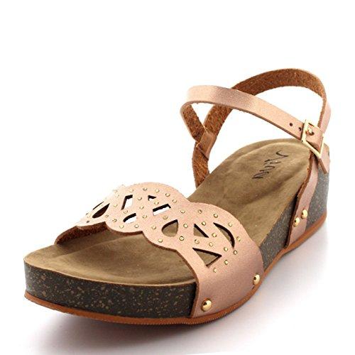 Damen Keilabsatz Holzsohle Spitze Fesselriemen Diamante Sommer Sandale Rose Gold