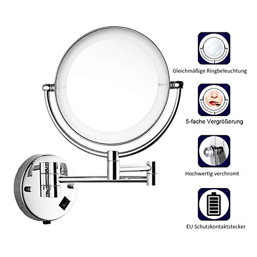 Maycho 8'' 1&5X Espejo Maquillaje Luz LED Espejos