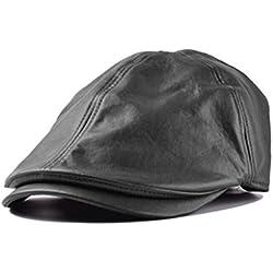 Sombrero,Xinantime PU Cuero Gorra Boina Sombreros Hombres Mujeres (Negro)