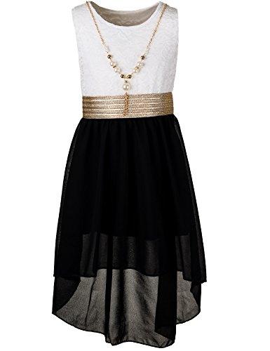 mer Fest Kleid für Mädchen Sommerkleid Festkleid mit Kette in vielen Farben M288wsw Weiss Schwarz Gr. 20/176 ()