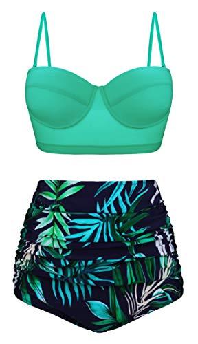 Angerella Vintage Underwire Hoher Taille Badeanzüge Bikini Set für Teenager,Medium