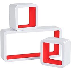 WOLTU RG9229nrt Lot de 3 Étagère Murale Cube en MDF, étagère CD Livres étagère,Blanc Rouge Sang
