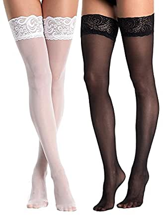 d41dc6f0c90fd AMORETU Womens Hold-Up Thigh High Lace Top Sheer Stockings - 2 Pairs ...