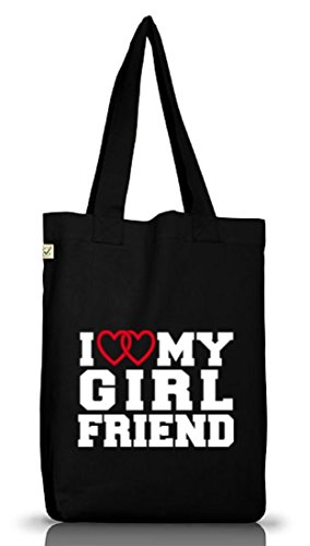 Shirtstreet24, I LOVE MY GIRLFRIEND 4,Valentinstag Jutebeutel Stoff Tasche Earth Positive (ONE SIZE) Black
