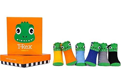 Trumpette T-Rex Dinosaurier Baby Socken Set–0–12Monate–Geschenk Box