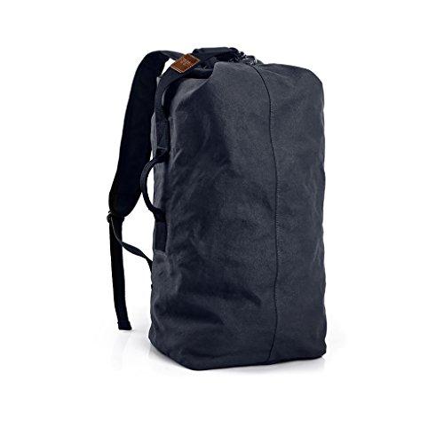Canvas Tasche große Kapazität Rucksack Freizeit Reisen Rucksack leichte Outdoor Sporttasche Student Computer Tasche (Kapazität : Groß, Farbe : Blue black)