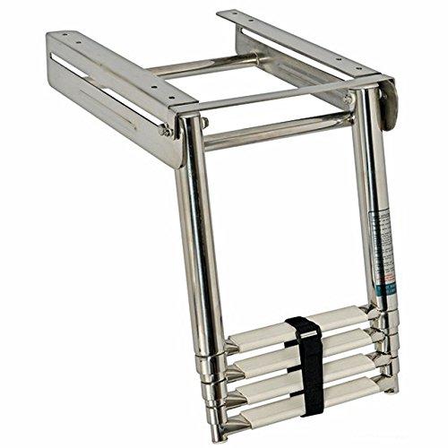 Osculati Edelstahl Teleskop-Badeleiter für Plattform, umklappbar - erhältlich mit 3 oder 4 Stufen, Größe:4 Stufen