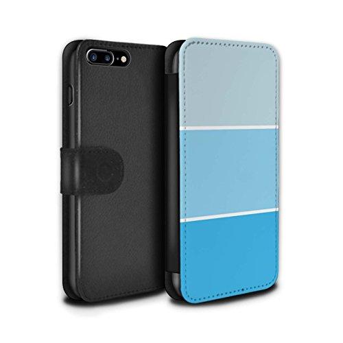 Stuff4 Coque/Etui/Housse Cuir PU Case/Cover pour Apple iPhone 7 Plus / Vert Design / Tons de Couleur Pastel Collection Bleu Clair