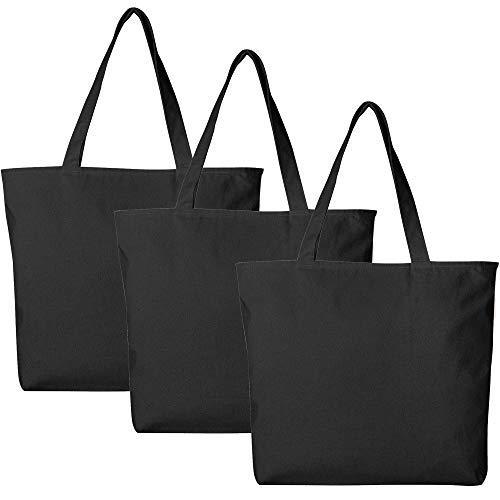 3Stück große schwere Canvas Tote Taschen, Uni und Top mit Innen Reißverschluss von bagzdepot schwarz (Für Taschen Canvas Großhandel)