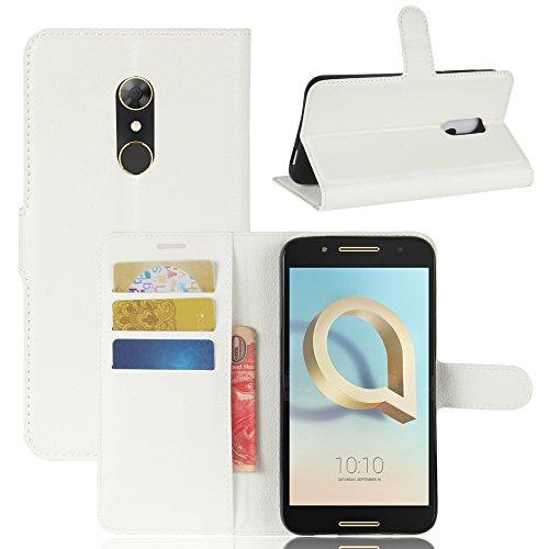 GARITANE Alcatel A7 Hülle Case Brieftasche mit Kartenfächer Handyhülle Schutzhülle Lederhülle Standerfunktion Magnet für Alcatel A7 (Weiß)