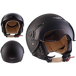 Moto Helmets H44 - Helmet Casco de Moto , Negro Matte, M (57-58cm)