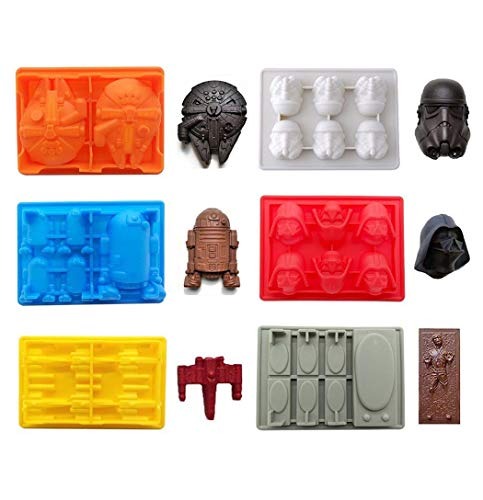 g geformte Form, Set von 6 flexible Silikon-Formen für Kuchendekoration Star Wars Liebhaber Roboter Birthday Candy Formen Schokolade Formen ()