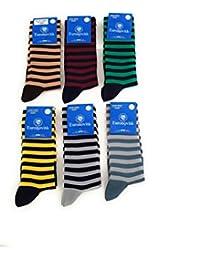 Euronovit/à Srl Calza Uomo Blu Corta Confortevoli e rinforzate su Punta e Tallone Made in Italy 6 Paia in Cotone Filo di Scozia,Taglia 43//46 Elasticizzate