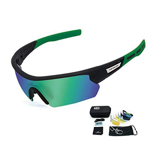 9bd52d3154 TOPTETN Gafas Ciclismo Polarizadas con 5 Lentes Intercambiables Gafas de  Sol Deportivas Antivaho Antireflejo Anti Viento y UV Adaptadas a Deporte  Carrera ...