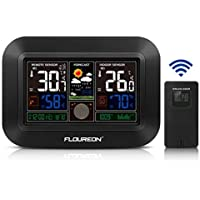 FLOUREON Wireless Weather Stations With Outdoor Sensor LED Color Display Weather Forecast Station Alarm With Temperature Alerts, Humidity Monitor, Thermometer and Hygrometer Indicator (Black)