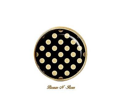 """Bague"""" Pois beiges fond noir"""" cabochon bronze bijou fantaisie verre"""
