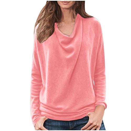 Auiyut Frauen Pullover Einfarbig Tunika Klassischer T-Shirt Langarm Oberteile Lose Bluse Beiläufige Tops Mehrfache Farben Mode Sweatshirt Jumper