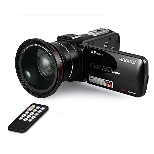 Andoer hdv-z82 1080p full hd 24mp videocamera digitale con angolo largo 0.39x + macro lens 3