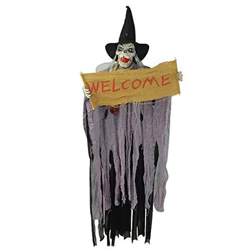 vijTIAN Halloween-Kostüm, gruseliges Horror-Haunted Haus-Licht Kostüm Totenkopf Hexe Kleid Requisite Machen die Atmosphäre von Halloween intensiver und interessanter violett