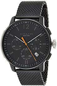 Coach Mens Quartz Wrist Watch, Ionic Plated Black Steel- 14602344