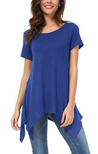 Urban GoCo Donna Casual Tunica Tops T-Shirt Comoda Basic Orlo Irregolare Camicia Maglietta Blu reale