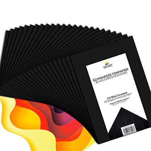 Tritart - Tonpapier Schwarz A4 130g /m² I 110 Blatt festes Bastelpapier HOCHWERTIG I stabiles kreativ Zeichenpapier zum Basteln und Malen I Fester Zeichenkarton I DIY Tonzeichenpapier Schwarz
