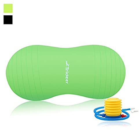 Trideer Anti - Burst Peanut Ball / Birth Ball / Physio Roll, Yoga / Exercise / Therapy / Fitness Ball with Pump Plug Kit - for Mothers Labor and Delivery, Kids and Children Exercise and Physical & Strength Training, and Dog Training ( Sizes Come in 45cm, 50cm, Black / Green Available for Your Option) (Green, 50cm)