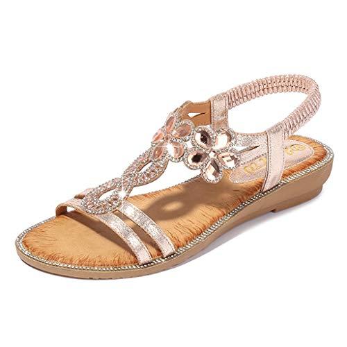 Frauen Schuhe TPulling Damen Böhmen Roman Strass Sandalen  Faux Strass Perlen Flip Flops Sommer Pantoffeln Mit Keilabsatz -