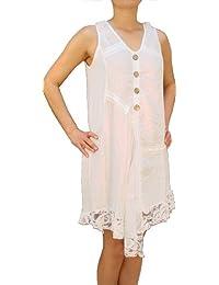 07718 Damen Kleid 100% Leinen, beige,braun, grün, rot, weiß, M, L, XL, XXL.